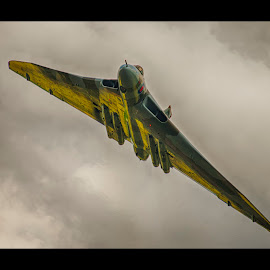 xh558 Avro Vulcan by Bend The Light Mansell - Transportation Airplanes ( delta wing, plane, vulcan, vintage, avro, bomber, moody, sunlit )