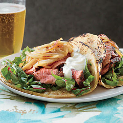 Beef Tenderloin, Swiss Chard, and Caramelized Fennel Tacos