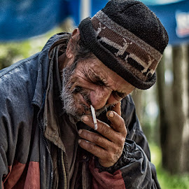outcast by Silviq Sabotinova - People Portraits of Men ( old man, smoke, portrait )