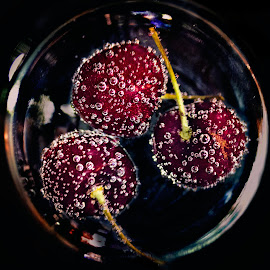 Dark Cherries by Erik Giuseppe - Food & Drink Fruits & Vegetables ( delivious, water, refreshing, sweet, sparkling, red, food, bubbles, dark, cherries,  )