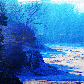 cold shadows by Randy Langenberg - Digital Art Places ( dry lake bed, winter, cold, landscape, shadows )