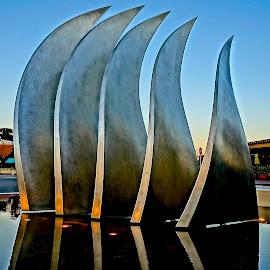 Tiburon, California by Barbara Brock - Buildings & Architecture Statues & Monuments ( modern art, metal art, tiburon, modern statue, wave art, town monument )