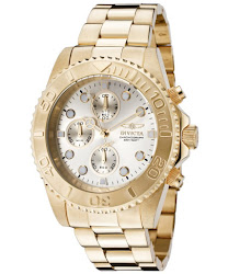 Invicta Men's Pro Diver Chronograph Champagne Dial 18K Gold Plated Stainless Steel