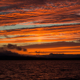 After the Storm on Moosehead by Shelby Taylor - Landscapes Sunsets & Sunrises ( orange, sunset, moosehead lake, storm clouds )
