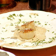 Seared Scallops with a Portobello Mushroom and Truffle Emuslion, Shaved Truffles and Parmigiano-Reggiano Cheese