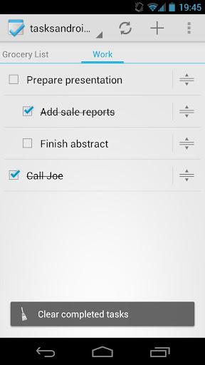 Tasks - screenshot