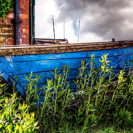 Boat ashore by Laura Prieto - Transportation Boats ( blue, kent, whitstable, transportation, boat, abandoned boat )