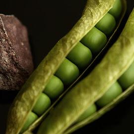 Green Symmetry by Prasanta Das - Food & Drink Fruits & Vegetables ( pea, green, seeds, symmetry )