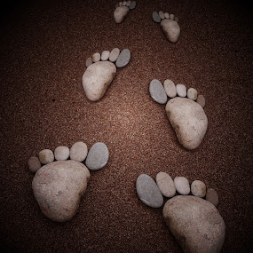 Footprints in the sand  by JCstudios by John Cuthbert - Abstract Patterns ( wall art, foot, framed print, art, jcstudios, stone, feet, pebbles, footprint, cute, rocks, copy )