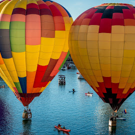 Havasu ballons and  boats by Robert Keas - Transportation Other ( arizona, lake havasu, lake, marina, balloons, river )