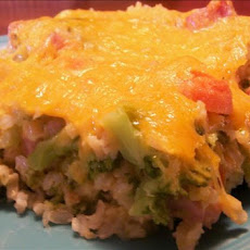 Easy Cheesy Ham and Veggie Rice Casserole-Diabetic