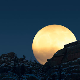 On the Rise by Ty Stockton - Digital Art Places ( national forest, moon, evening, rocks, moonrise )