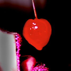 Cherry Heart by Trinton Garrett - People Body Parts ( heart, art, fine art, sugary, photography, lick, drip, cherry, pink sparkles, sexy, red, pink, sparkly pink, black )