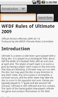 Screenshot of WFDF Rulebook