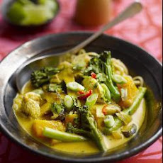 Thai-style chicken, shitake and Tenderstem® broccoli with noodles and coconut broth