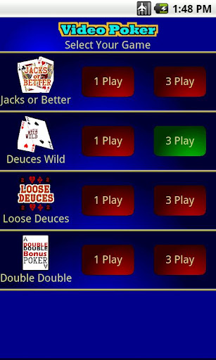1 3 play Video Poker
