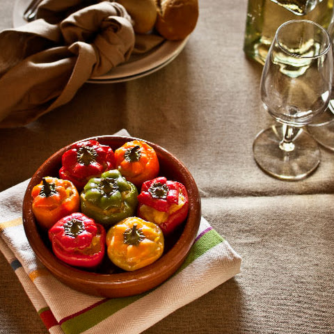 Stuffed mini peppers with Spanish tortilla