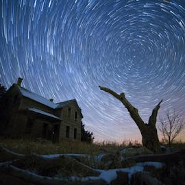 Winter Trails by Joey Mills - Abstract Light Painting ( joey, one, star, north, house, polaris, farm, mills, pics, winter, sky, cold, barn, rare, snow, night, trails, nebraska, light, abandoned )