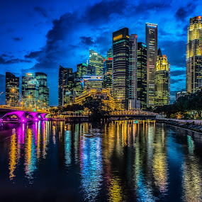 Night City View by Alex Shanti - City,  Street & Park  Night ( hdr, buildings, night, singapore, city, , Urban, City, Lifestyle, serenity, blue, mood, factory, charity, autism, light, awareness, lighting, bulbs, LIUB, april 2nd )