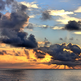 Sun Burst by Rick Blakeley - Landscapes Cloud Formations ( cloud formations, sunset, pacific ocean, clouds and sea, cloudscape )