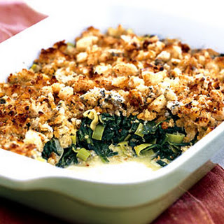 Spinach and Leek Gratin with Roquefort Crumb Topping