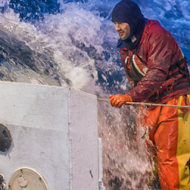 Fisherman by John Matzick - People Portraits of Men ( longline, splash, alaska, sea, job, ocean, commercial fisherman, bering sea, harsh, dangerous, cold, dangerous job, wave, wet, fisherman, hard, rugged )
