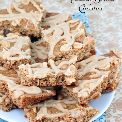 Peanut Brittle Cookie Bars with Peanut Butter Icing
