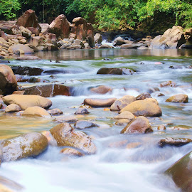 Babagon River, Penampang, Sabah by Low SuehLeong - Nature Up Close Rock & Stone ( holiday, happy, natural, river, picnic )
