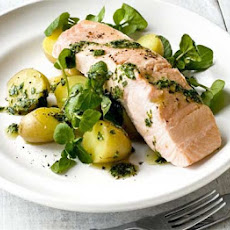 Poached Salmon With Green Herb & Mustard Sauce