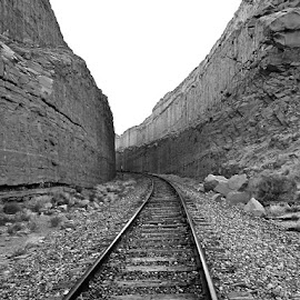 Train Tracks near Moab, Utah by Tyrell Heaton - Black & White Landscapes ( moab, black and white, utah, train, tracks )