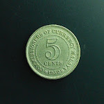 5 Cents, Commissioners of Currency Malaya, 1950, obverse.