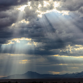 God's Rays of Hope by Leslie Nu - Landscapes Weather ( stormy, mountains, az, desert, cloudscapes, weather, landscapes, light, sun rays )