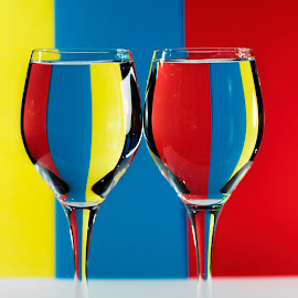 tri colour by Vibeke Friis - Artistic Objects Cups, Plates & Utensils ( tri-color, wine glasses )