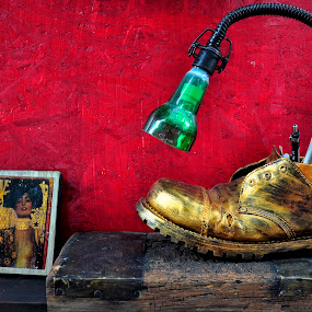 Contemporary Art by Gabriel Tocu - Artistic Objects Still Life ( still life, lamp, contemporary art, shoe,  )