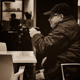 A black coffee for a white soul by Alin Duta - People Street & Candids ( modern, enjoyed, street, coffee, soul, white, old man, black, mall )