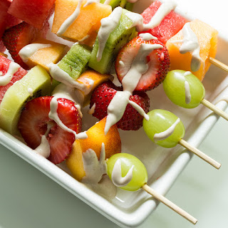 Creamy Cherry Pie Fruit Dip with Rainbow Fruit Kabobs