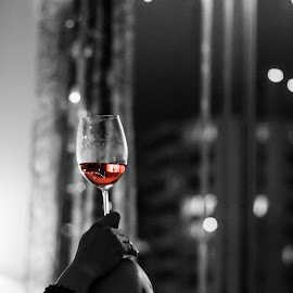 First wine of the year by Jon Page - Food & Drink Alcohol & Drinks ( wine, selective color, color, black and white, new year, drink,  )