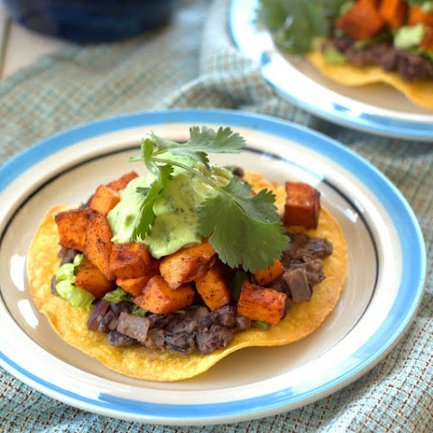 Chipotle Roasted Sweet Potato and Black Bean Tostadas with Avocado Lime Crema