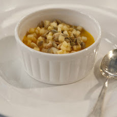 Butternut Squash Custard with Poached Quince and Pine Nuts