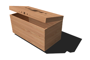 3D Image of Blanket Box - Built in Sweet Chestnut and Decorated with Walnut Inlays