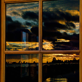 Sunrise Reflection by David Johnson - Buildings & Architecture Other Exteriors ( old house, reflection, window, colors, lake superior, sunrise )