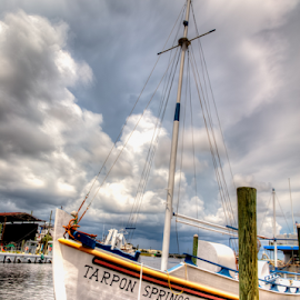 Tarpon Springs Sponge Boat by Carl Clay - Transportation Boats ( water, clouds, sponge boat, boats, tarpon springs, dock )