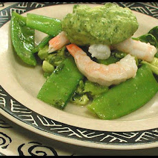 Shrimp on Snow Peas With Avocado Citrus Dressing