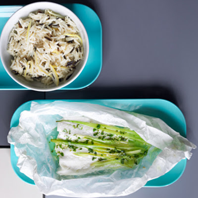 Baked Haddock And Herb Parcels With Lemon Wild Rice