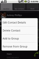 Screenshot of Contacts  Evolved