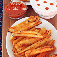 Baked Buffalo Fries w/ Ranch & Blue Cheese Dipping Sauces