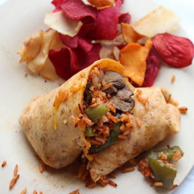 Make-Ahead Overstuffed Burrito with Mushrooms, Cheddar and Tomato Rice