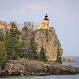 Split Rock by Kenton Knutson - Buildings & Architecture Public & Historical ( rock formations, state park, cliff, lighthouse, lake superior, historical )