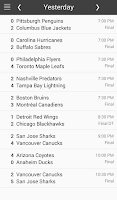 Screenshot of NHL Hockey Schedule & Scores