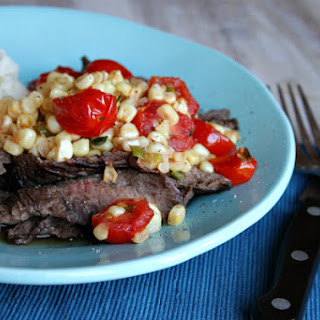 Grilled Skirt Steak with Warm Corn and Cherry Tomato Salad